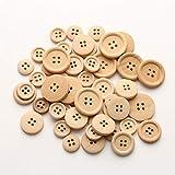 Huixindd Botones de Madera Mixtos, 50pcs / Set, Color Natural, Redondo, 4 Agujeros, Costura, Scrapbooking, Bricolaje, Accesorios de Costura