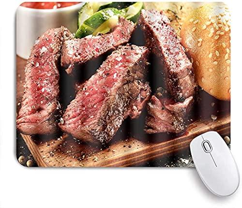 Tapis de souris de jeu, Prime Black Angus Steak Burger Degré de cuisson du steak moyen rare Impression graphique, Base en caoutchouc antidérapante Tapis de souris pour ordinateurs portables Tapis de s