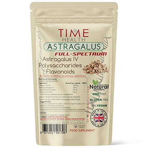 Astragalus Full Spectrum – 60 Capsules – Astragaloside IV – Polysaccharides – Flavonoids – Vegan – No Additives - UK Manufactured (60 Capsule Pouch)