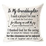 Andreannie to My Granddaughter I Said A Prayer to You Cotton Linen Throw Pillow Case Cushion Cover Decorative for Sofa Living Room Square 18 X 18 Inches ?- ?- ?- (H) ??¡