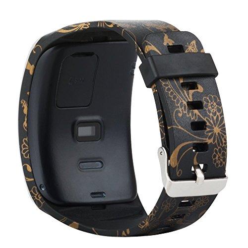Baaletc Samsung Galaxy Gear S R750 Smart Watch Ersatz-Armband / kostenlose Größe Wireless Smartwatch Zubehör Band mit sicherer Schnalle, 750 Bänder Gold Blume