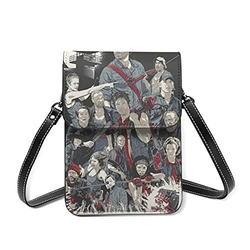 The Walking Dead - Bolsa de cuero para teléfono móvil, bolsa de hombro con correa larga y llavero