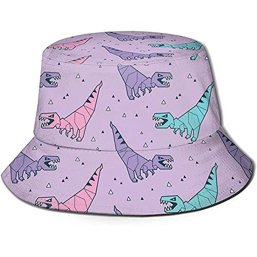 Unisex Origami Rosa y Azul Dinosaurios Imprimir Sombrero de Cubo de Viaje Gorra de Pescador de Verano Sombrero de Sol