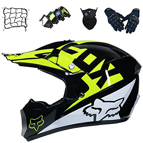 Aidasone Downhill - Casco de motocross para niños con gafas/guantes/máscara/red de bungy, casco de MTB de cara completa con diseño de FOX, negro brillante, S