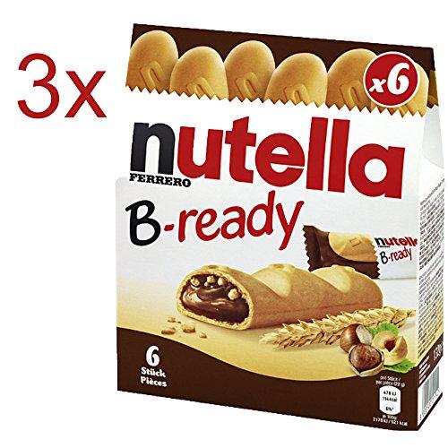 Nutella B-Ready leckere Waffelsticks mit Nutellafüllung 3er Set (3x6 B-Ready Waffel-Sticks) DE