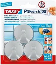 tesa 57578 Powerstrips Kleine haken, Cirkel Matt-Chrome met zelfklevend en afneembaar (3 haken) door tesa UK