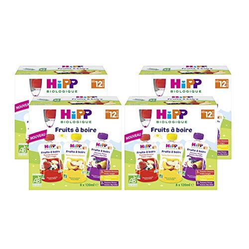 Hipp Biologique Gourdes Multipack Fruits à Boire 3 Variétés dès 12 Mois - 8 gourdes de 120 ml - lot de 4
