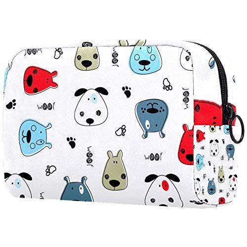 Bolsa de brochas de maquillaje personalizable, bolsa de aseo portátil para mujeres, bolso cosmético, organizador de viaje para perros, patrón infantil con perros vectores