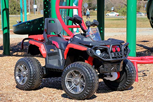 First Drive 12V Kids Electric ATV Quad 4 Wheel Drive Red Offroad Ride On Toy Car – Leather Seat, EVA Foam Wheels, Twist Throttle, LED Headlights, Aux Audio Jack, 5.5 MPH