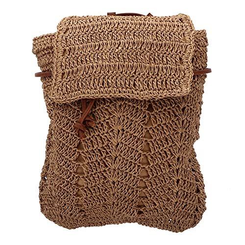SOIMISS Verano Paja Hecha a Mano Crochet Mochila Solapa Cordón Bolsa de Hombro Tejida Playa Mochila