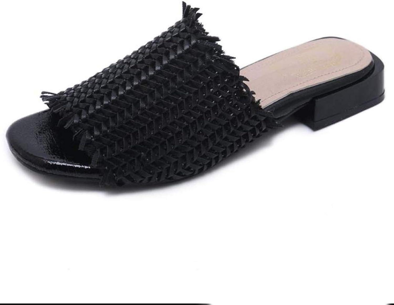 Women Straw Flip Flops, Summer Comfortable Flat Heel Square Head (Size   6 US)