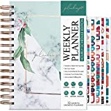 PLANBERRY Weekly Schedule Planner – Undated Hourly Schedule Planner for Daily Productivity, Weekly Tasks & Time Management - Daily Organizer with Time Slots – Hardcover, Spiral A5 (Natural Green)