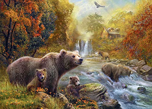 FAWFAW Adults Jigsaw Puzzles Toys 300 Pieces, Bears By The Stream,Autumn Lanscape Jigsaw Puzzle