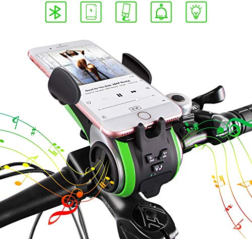 Bluetooth luidspreker, UPPEL Bluetooth luidspreker, draagbare Bluetooth fietsluidsprekers V4.0-luidspreker+ 4400mAh Power Bank + verlichting + deurbel + telefoonondersteuning +TF kaart 7 in 1 Design