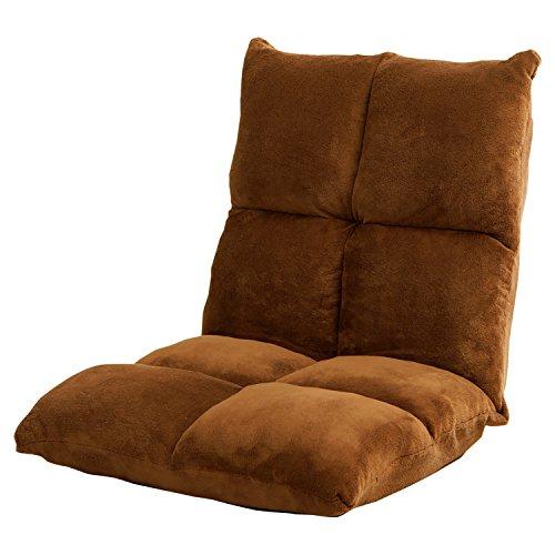 LOWYA ロウヤ 座椅子 42段階 リクライニング 肉厚ボリューム 低反発 マイクロファイバー ブラウン