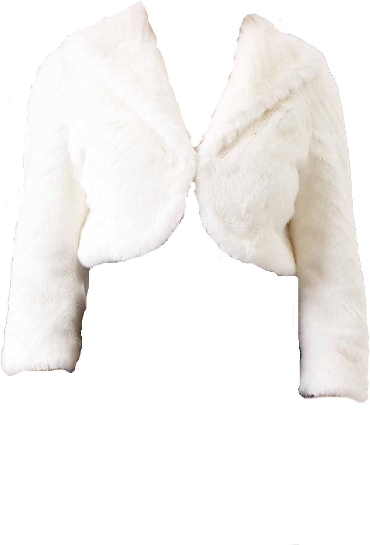 Mascara Ivory Collared faux fur Bolero FF044