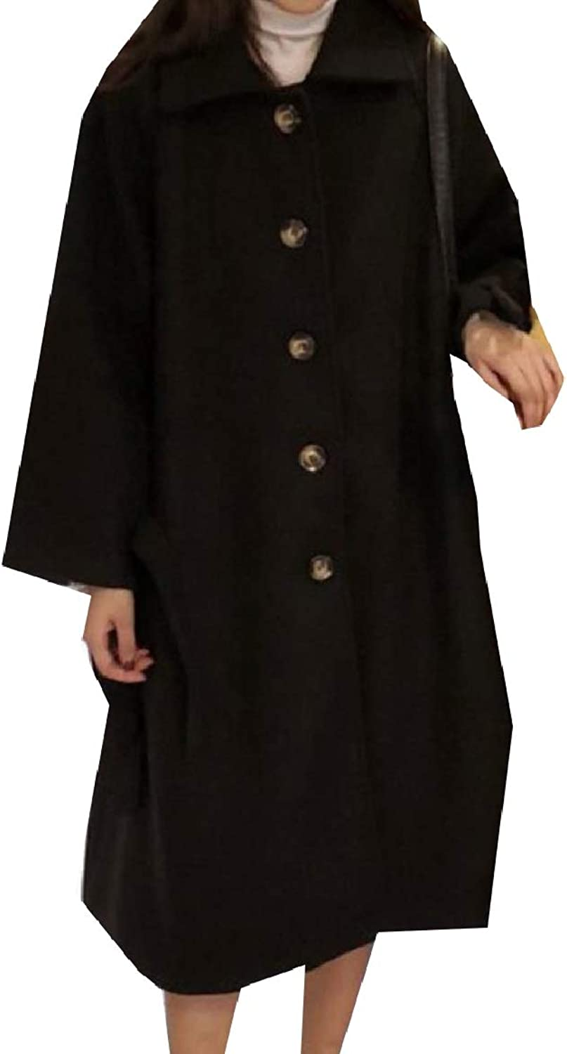 Baseby Womens Slim Trench Jacket Lapel Woolen Single Breasted Overcoat