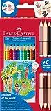 Faber-Castell Colour Grip Children of the world - Lápices de colores (3 unidades con 2 tonos de piel cada uno, 1 unidad)