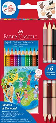 Faber-Castell 201746 - Colour Grip Buntstifte Children of the world, 10 Buntstifte + 3 Stifte mit je 2 Hautfarben Skin Tones, 1 Stück