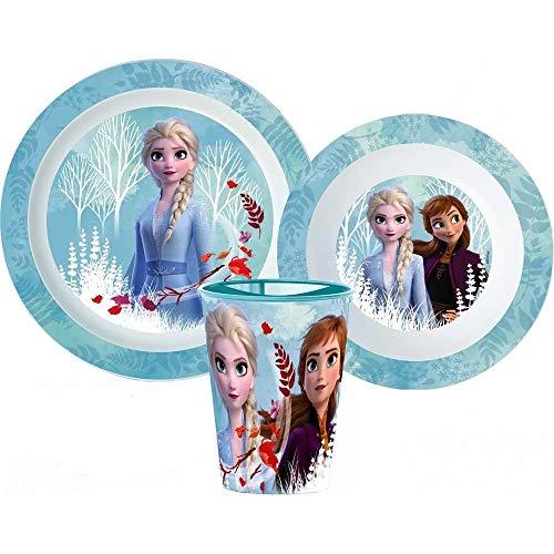 GUIZMAX Juego de comida de la reina de hielo con forma de ola de Frozen, taza y plato de cristal, reutilizable
