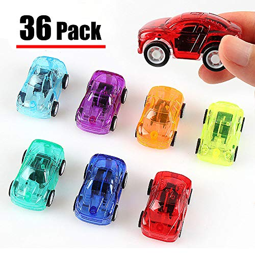 36 Pack Pull Back Car Set of Toy Cars Party Favor for Boys Mini Toy Cars Set for Kids Toddlers Birthday Play Plastic Vehicle Set (Random Color)