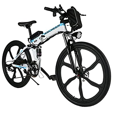 "ANCHEER Electric Bike Folding Electric Commuting Bike/Mountain Bike with 26"" Magnesium Alloy Integrated Wheel, Premium Front and Rear Suspension and 21 Speed Gears"