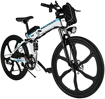 "ANCHEER Folding Electric Mountain Bike with 26"" Super Lightweight Magnesium Alloy 6 Spokes Integrated Wheel, Premium Full Suspension and Shimano 21 Speed Gear"