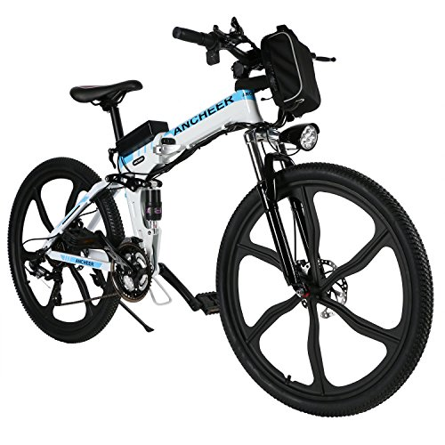 """ANCHEER Electric Bike Folding Electric Commuting Bike/Mountain Bike with 26"""" Magnesium Alloy Integrated Wheel, Premium Front and Rear Suspension and 21 Speed Gears"""