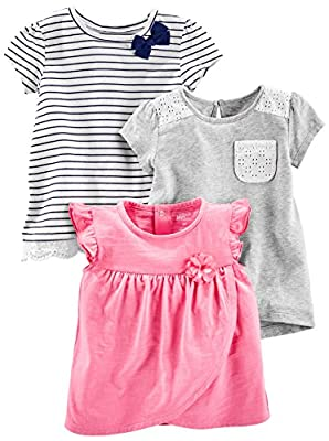 Simple Joys by Carter's Baby Girls' Toddler 3-Pack Short Sleeve Tops, Gray, Pink, Stripe, 2T