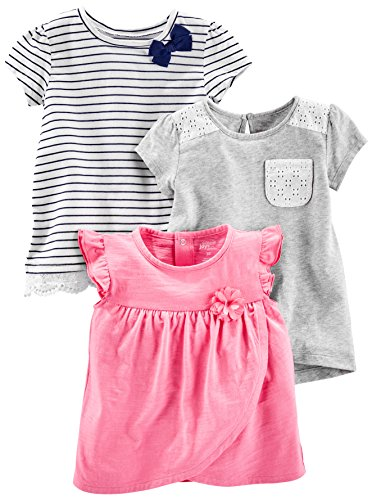 Simple Joys by Carter's Baby Girls' Toddler 3-Pack Short Sleeve Tops, Gray, Pink, Stripe, 4T
