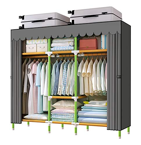 YOUUD 65 Inches Wardrobe Storage Closet Colored Rods and Grey Cover Portable Closet Storage Organizer, Quick and Easy to Assemble, Extra Sturdy, Strong and Durable