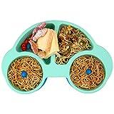 Qshare Baby Teller Schüssel, Saugnapf Tischset für Kleinkinder, passend für Hochstuhl, BPA-frei, tragbare Silikon Baby-Platten für Kleinkinder und Kinder, Spülmaschinen-und mikrowellengeeignet