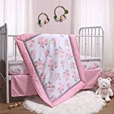 The Peanutshell Pink Floral Crib Bedding Set for Baby...