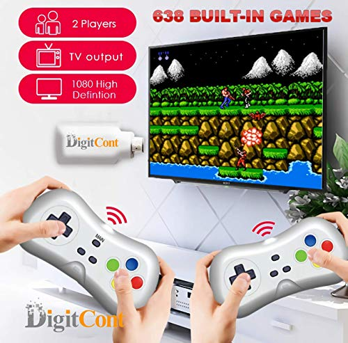 DigitCont Retro Game 2.4G Wireless Game Dongle Easy Plug and Play Built-in 638 Classic Games 1080p HDMI 2 Players Support Black