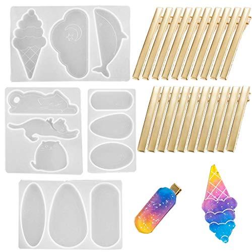 Daimay 4 moldes de Resina de Silicona para Hacer Clips de Pelo, alfileres para Joyas, Molde de fundición epoxi, moldes de fundición para 20 Clips de Pelo Dorados, Forma de Nubes de Gato de Helado