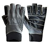 Navis Marine Sailing Gloves for Men Women Rowing Boating Fishing Kayaking All Water Sports Perfect UV Protection Short Finger (G04 Carbon, Small)