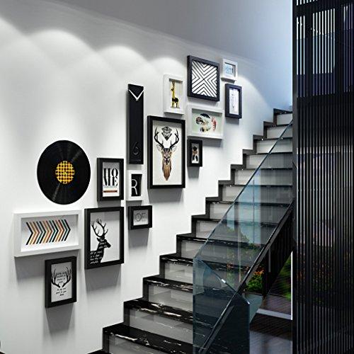 Bilderrahmen Collage Treppe kreative Massivholz Kombination Fotorahmen Luxus Wanddekoration ( Farbe : Schwarz und weiß )