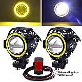 YnGia Faros LED de luz antiniebla para conducción de motocicletas con interruptor de 3 cables 12V 24V, 2 uds U7 Faros delanteros impermeables para motocicleta con halo ámbar para moto Quad Scooter