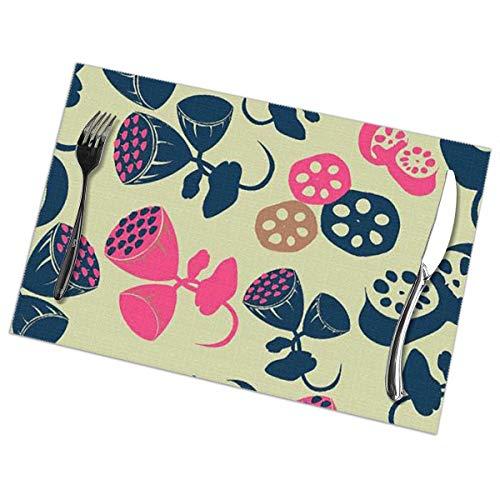 De kleurrijke Lotus luifel binnen de Lotus Placemat wasbaar voor keuken diner tafelmat, gemakkelijk te reinigen gemakkelijk te vouwen Plaats Mat 12x18 Inch Set van 6