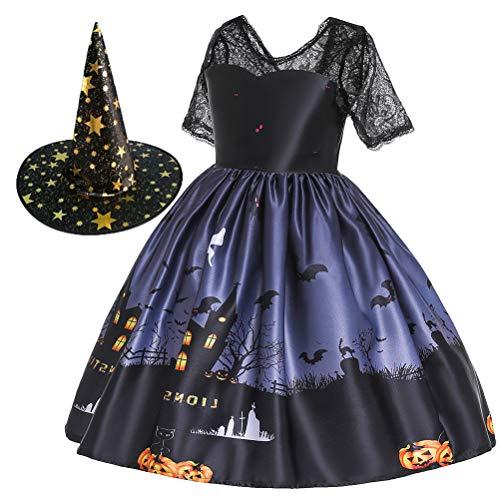 Amosfun Vestido de Halloween infantil com saia de desenho animado Halloween bruxa traje fantasia fantasia fantasia cosplay conjunto (preto + bruxa negra 140 cm) lembrancinhas de festa