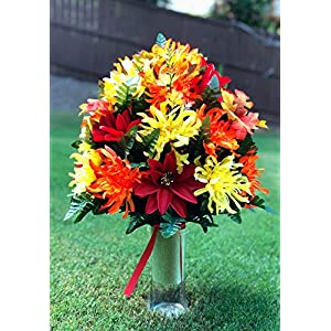 Starbouquets Cemetery Vase Arrangement ~ Beautiful Yellow Orange Mum and Red Dahlias Silk Flowers ~ for a 3 Inch Vase