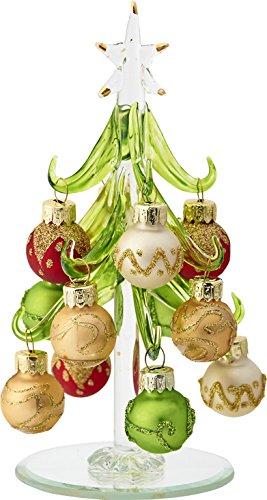 LSArts Árbol de Navidad de Cristal con Adornos Dorados Multicolores, Verde, 15,8 cm