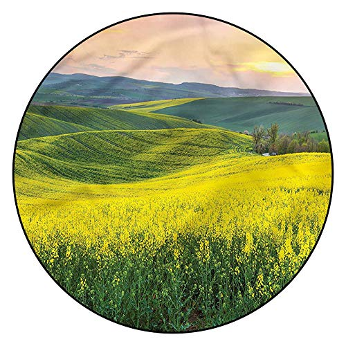 3D Yellow Pattern Area Rugs Carpets,5' Round,Hills Valley Sunrise Floor Carpet with Non Slip Backing for Bedroom Livingroom Dorm Kids Room Indoor Home Decorative