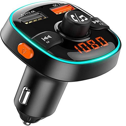 FM Trasmettitore Bluetooth per Auto, 7 Colori Controluce con Modalità Gradiente, Caricatore Auto con 2 Porte USB (5V/2.4A + QC3.0), Kit Vivavoce per Auto, Supporto U Disk/TF Card(≤64GB)