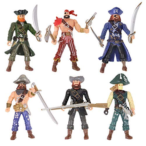HAPTIME 6 Pcs Pirates Action Figure Playset with 6 Weapons / Sea Rover Pirate Men Toy (Each 3.75...