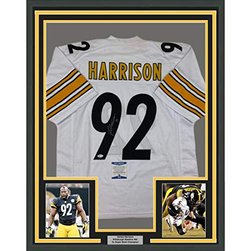 Framed Autographed/Signed James Harrison 33x42 Pittsburgh White Football Jersey Beckett BAS COA