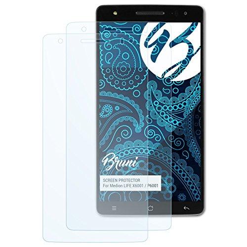 Bruni Schutzfolie kompatibel mit Medion Life X6001 / P6001 Folie, glasklare Bildschirmschutzfolie (2X)