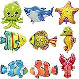 Globos Peces BESTZY 9PCS Foil Pescados Globos Animales Mar Globos Aluminio Helio Globo para decoración de fiesta de cumpleaños de niños