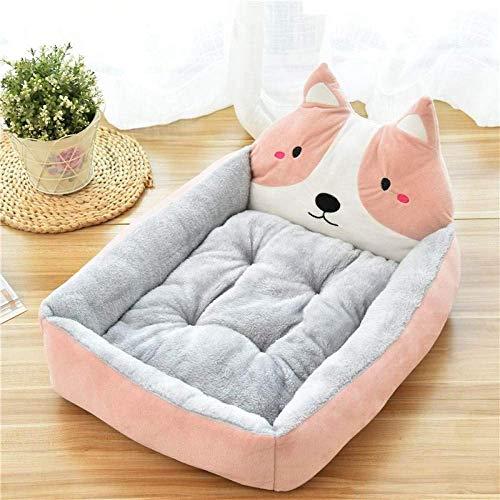 HAOSHUAI Haustier-Bett, Cartoon-Rosa Haustier-Bett-Soft-Zwinger Winter warm Tierbedarf Haus for Katzen-Matten-Bett for Small Medium Large Dog verdicken Lounger Sofa, M (Size : S)