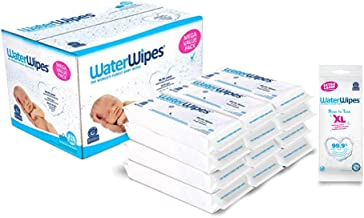 WaterWipes Unscented Baby Wipes, Sensitive and Newborn Skin, 12 Packs (720 Wipes) and Waterwipes Unscented Nose to Toes XL...